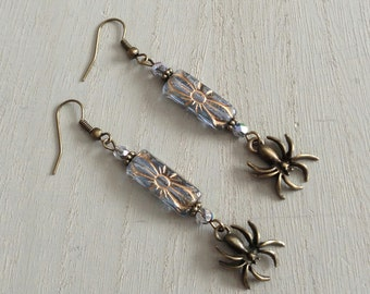 Bronze Spider Earrings with Etched Czech Glass