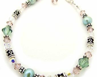 Rose Swarovski and Freshwater Pearl Bracelet