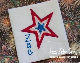 3 Color Star Applique embroidery Design - 4th of july Appliqué Design - star Appliqué Design