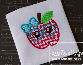 Apple Girl with Glasses and Bow Applique