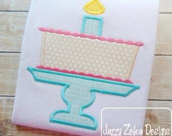 Birthday Cake Appliqué embroidery Design - birthday appliqué design - cake appliqué design - 1st birthday appliqué design