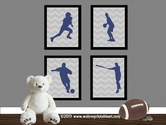 Sports decor theme baby shower baby boy nursery art print - Baby boy sports room ideas ...