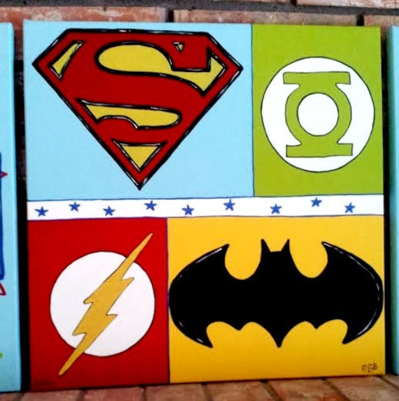 Superhero Art For Little Boys: Items Similar To Super Hero Canvas, Super Hero Nursery