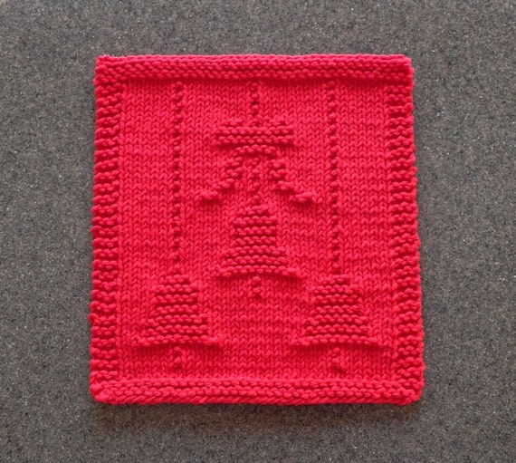 Neck Warmer Knit Pattern : BELLS & BOW for CHRISTMAS Red Knit Dishcloth by AuntSusansCloset