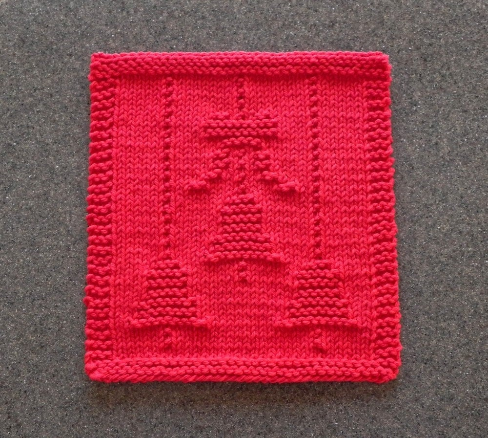 Christmas bells bow red knit dishcloth 100 cotton hand for Knitted christmas bells