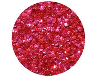 6mm Cup Sequins Facet Paillettes Hot Pink Laser Hologram Reflective Rainbow.