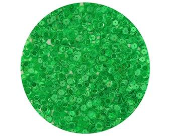 6mm Cup Sequins Facet Paillettes Transparent Apple Green See-Thru