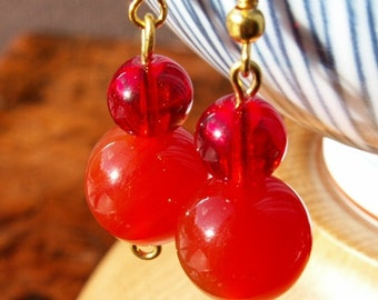 Sale proceeds to animal charities: Confident carnelian & red beaded earrings with gold plated ear hooks-code E7