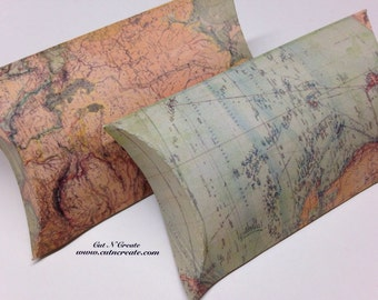 Map Favor Box Map Favor Vintage Map Travel Favor Travel Favours Map Pillow Box Map Pillow Boxes World Map