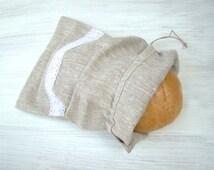 Linen Bread Bag. Natural Linen Bag. Reusable Bread Keeper Storage Bag. Rustic decor.Eco friendly material