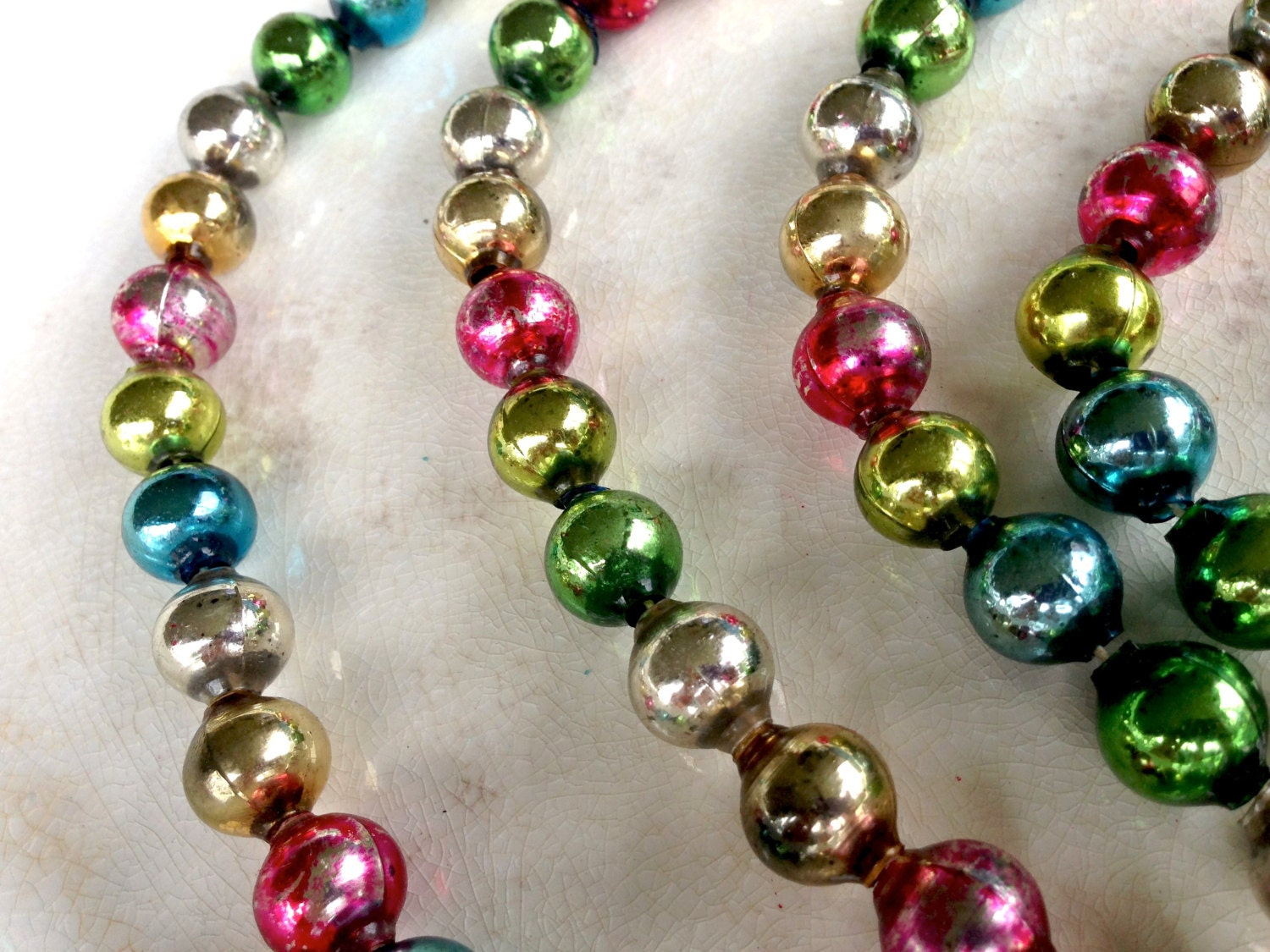 Vintage Mercury Glass Bead Garland Vintage Christmas