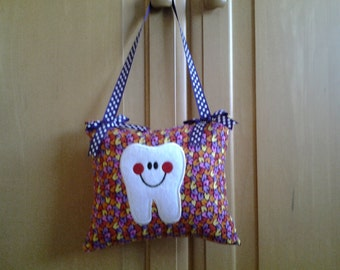 Tooth Fairy Pillow in Purple, Pink and Yellow - Personalized Pillow -Children's Tooth Pillow-Children's Gift-Hanging Tooth Pillow