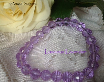 Luscious Lavender is a sparkly crystal aborio stretch bracelet