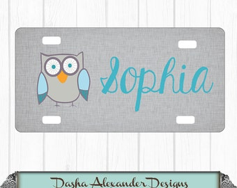 Owl Name Linen License Plate - Personalized Car License Plate - Sweet 16 Gift for Girl - Car Tag!