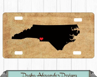 Old Paper Look State License Plate - Any State - Personalized Car License Plate - Sweet 16 Gift for Girl Chevron Car Tag North Carolina