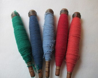 Five Vintage Wooden Bobbin Spools with Wool Thread