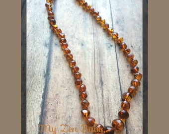 Adult Baltic Amber Necklace ~ Cognac ~ Polished ~ 17.5-18 inches