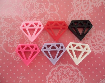 Diamond Cabochons Flatback 24mm x 22mm - 6pcs