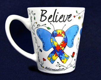 Butterfly Autism Ribbon Coffee Mug (RE-BBM-2)