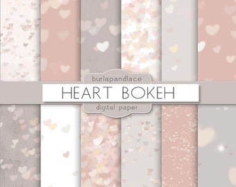 Heart bokeh, heart bokeh grey, love digital paper, Bokeh Background for Photographers, invitations, Valentine Digital Paper