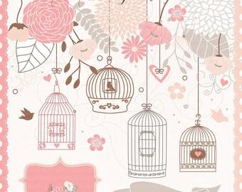 Bird cage flower clipart, flower clipart, wedding clipart, wedding invitation, Hand Drawn Mason Jars, yellow, Beige
