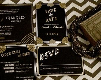 Gatsby Art Deco Wedding Invitation // Diy Printable // Art Deco, Great Gatsby, Roaring Twenties, Vintage