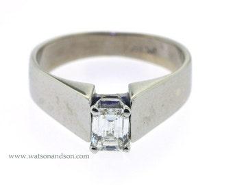 14K White Gold Emerald Cut Diamond Ring.