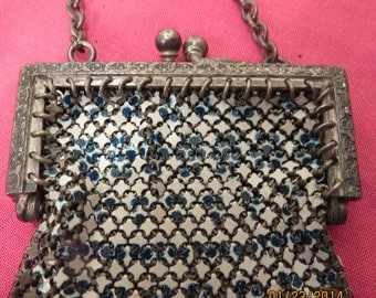 Beautiful Vintage Metal Mesh Enameled Purse from the 1920's