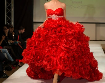Red Gothic Couture sweet heart Wedding Dress-Darmiani Flora Valentina