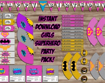 Superhero PINK Girls Birthday Party Pack, PopArt Birthday Banner Cupcake Wrapper Water Bottle Thank You Tags - Digital JPGs INSTANT DOWNLOAD