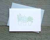 Potted Kitchen Herbs Letterpress Card