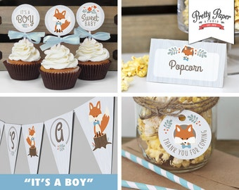 Baby Shower Decor Pack - Blue Woodland Fox // INSTANT DOWNLOAD // Banner, Food Tents, Cupcake Toppers, Favor Tags // Boy // Printable BS01