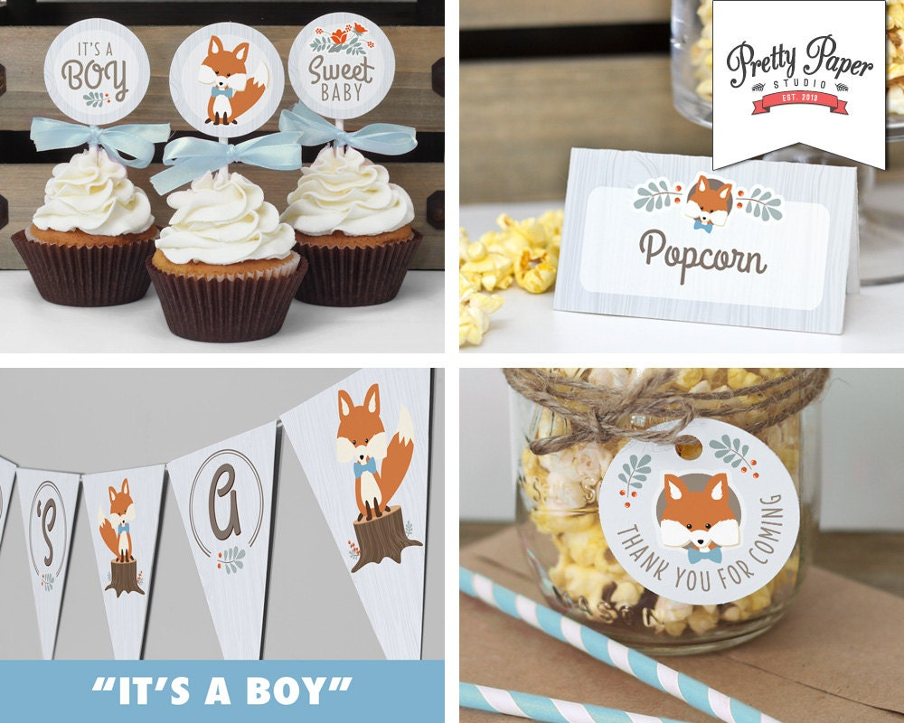 Baby shower decor pack blue woodland fox instant download for Baby shower decoration packs