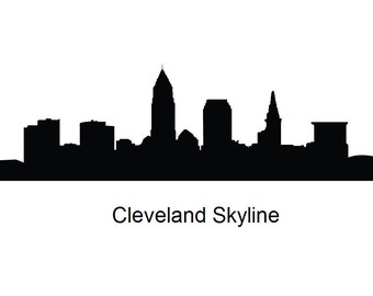Cleveland skyline on l silhouette vector