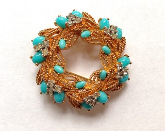 Sale: Vintage Panetta Faux Turquoise and Rhinestone Gold Tone Brooch