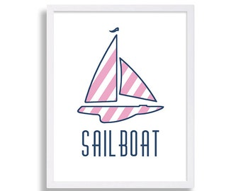 Nautical Nursery Sailboat Nursery Print Preppy Nursery Art Pink and Blue Nursery Nautical Nursery Theme Nursery Art Print Baby Decor Prints
