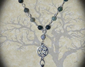 Moss Agate Goddess Necklace - Pentacle, Pagan Jewellery, Wicca, Witch, Gemstone