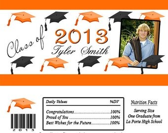 GRADUATION Hats Photo Candy Bar Wrappers Printed or Digital File FREE SHIPPING
