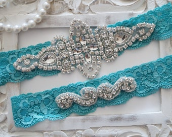 Wedding Garter Set, Bridal Garter Set, Vintage Wedding, Ivory Lace Garter, Something Blue