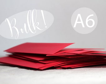 "BULK! A6 Bright Red Envelopes - 4x6 envelope (true size 4 3/4"" x 6 1/2"") - Quantity 100 - DIY Christmas Card Envelopes"