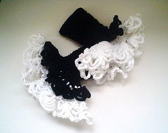Handmade  Ruffled Victorian Style Fingerless Gloves