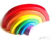 Holzspielzeug Regenbogen. Stapeln Spielzeug, Waldorf Kleinkind Spielzeug, Regenbogen-Stapler