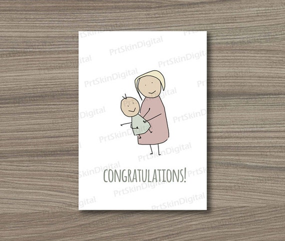 Printable congratulations newborn baby greeting card new mom first il570xn m4hsunfo
