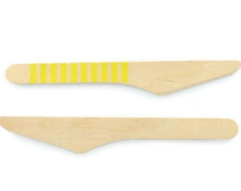 WOOD KNIFE CUTLERY (Set of 10) - Wood Knives with Yellow Horizontal Stripes (16cm)