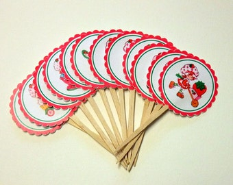 Vintage, Strawberry Shortcake, Cupcake Toppers, Birthday, Baby Shower, Cupcake Picks, Party Supplies, Set of 6 or 12