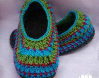 Crochet 4-colour slippers in Women's Sizes