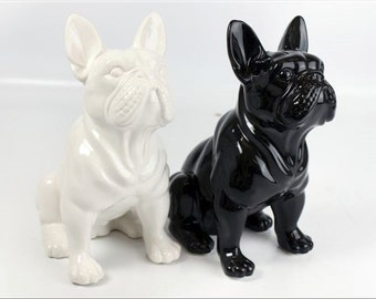 """Statue of french bulldog, BLACK ceramic, for decoration or collection H8.6"""" / 22 cm"""