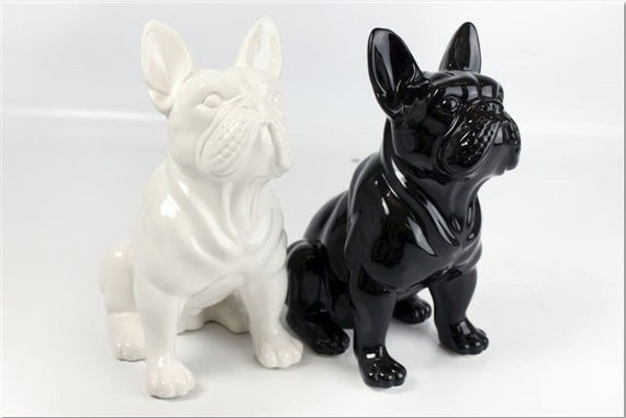 statue of french bulldog black ceramic for decoration or. Black Bedroom Furniture Sets. Home Design Ideas