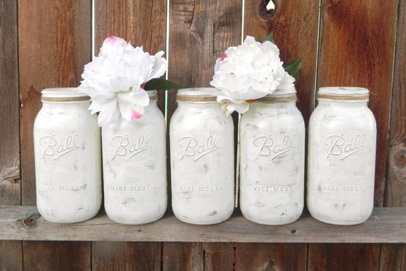 Shabby Chic Country White Mason Jars for Vases, Centerpiece, Half Gallon Mason Jars for Weddings, Showers, Decor