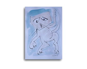 Cat - Drawing 11,81 x 8,27 inch minimalism fether-drawing aquarelle free shipping blue white